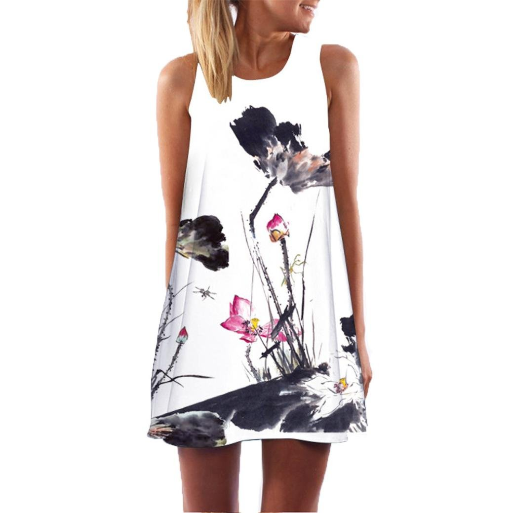 Sommerkleid Damen Kleid Sleeveless Mini Dress Partykleid Elegant Kleid Cocktailkleid Printed Short Kleid Abendkleid Strand Dress Boho Sommerkleid LMMVP
