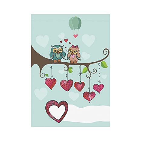 db27c7837044 INTERESTPRINT Cute Owls Couple Polyester Garden Flag Outdoor Banner 28 x 40  inch, Love Heart Valentine Decorative Large House Flags for Party Yard ...