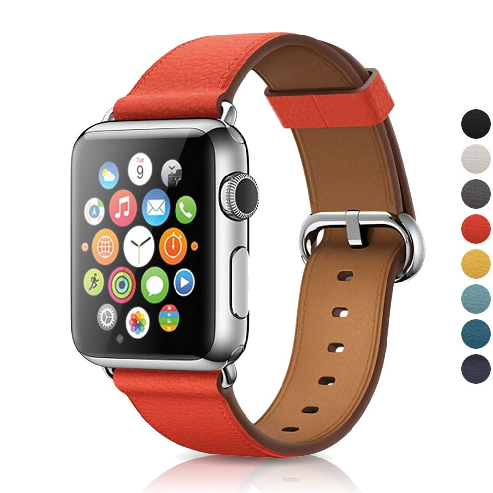 Narako Compatible with Apple Watch Bands 38mm 42mm 40mm 44mm Litchi Genuine Leather Classic Adjustable Replacement Strap for iWatch Series 4 3 2 1 for Men and Women (Red, 42mm/44mm) by Narako