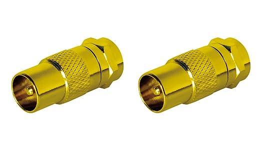 SAT-FOX Adaptador de antena SAT cable a SAT adaptador Set 2 unidades de conector F a conector IEC macho Conector coaxial adaptador cable SAT