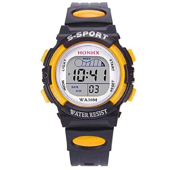 HONHX Sports - Reloj digital de pulsera unisex, para estudiantes, multifuncional, resistente al agua, con alarma, luz nocturna – amarillo: Amazon.es: ...