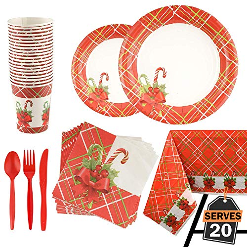 141 Piece Christmas Party Set Including Plates, Cups,