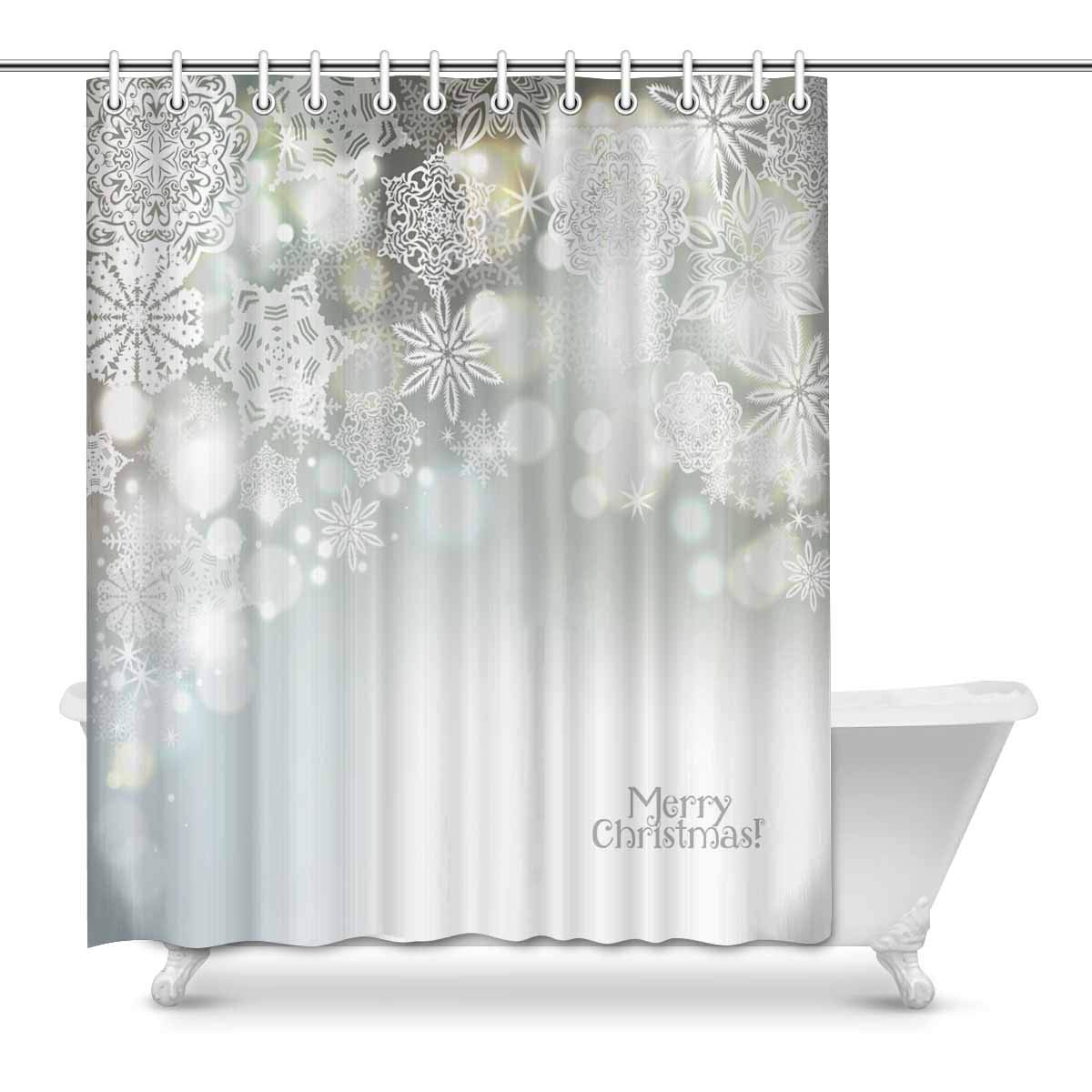 Amazon INTERESTPRINT Christmas Snowflake Bathroom Decoration Decor Effect Fabric Shower Curtains 60 X 72 Inches Long Home Kitchen