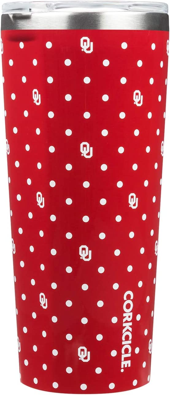 Polka Dot Corkcicle/ Tumbler 24oz NCAA Triple Insulated Stainless Steel Travel Mug University of Oklahoma Sooners