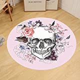 Gzhihine Custom round floor mat Skulls Decorations Collection Skull and Blooms Catholic Popular Ceremony Celebrating Artistic Vintage Design Bedroom Living Room Dorm Soft Salmon White