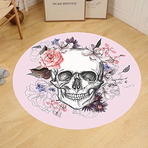 Gzhihine Custom round floor mat Skulls Decorations Collection Skull and Blooms Catholic Popular Ceremony Celebrating Artistic Vintage Design Bedroom Living Room Dorm Soft Salmon White by Gzhihine