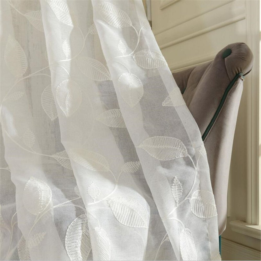 White Floral Embroidered Semi Sheer Curtains Faux Linen Grommet Curtain Panels for Living Room 52 x 63 Inch 1 panel eTRY