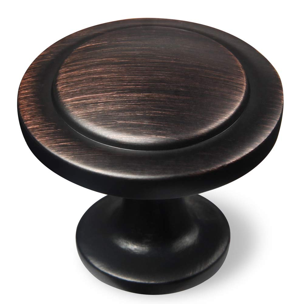 Amazer Cabinet Round Knobs, Oil Rubbed Bronze Traditional Cabinet & Furniture Hardware Round Pull Knob with Parallel Lines - 1-1/4'' Diameter - 20 Pack