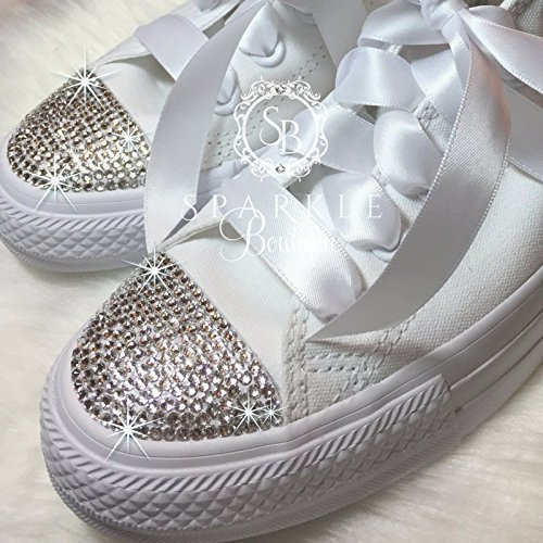 Amazon.com: Bling Wedding Converse, Bride Custom Shoes, Swarovski ...