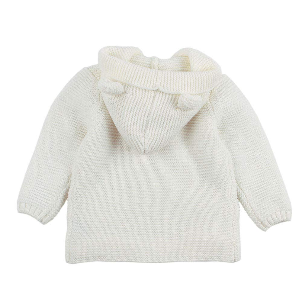 XXYsm S/äugling Baby Strickjacke Mantel Gestrickt Winter Herbst Einfarbig Jacke Outwear Kapuzenmantel