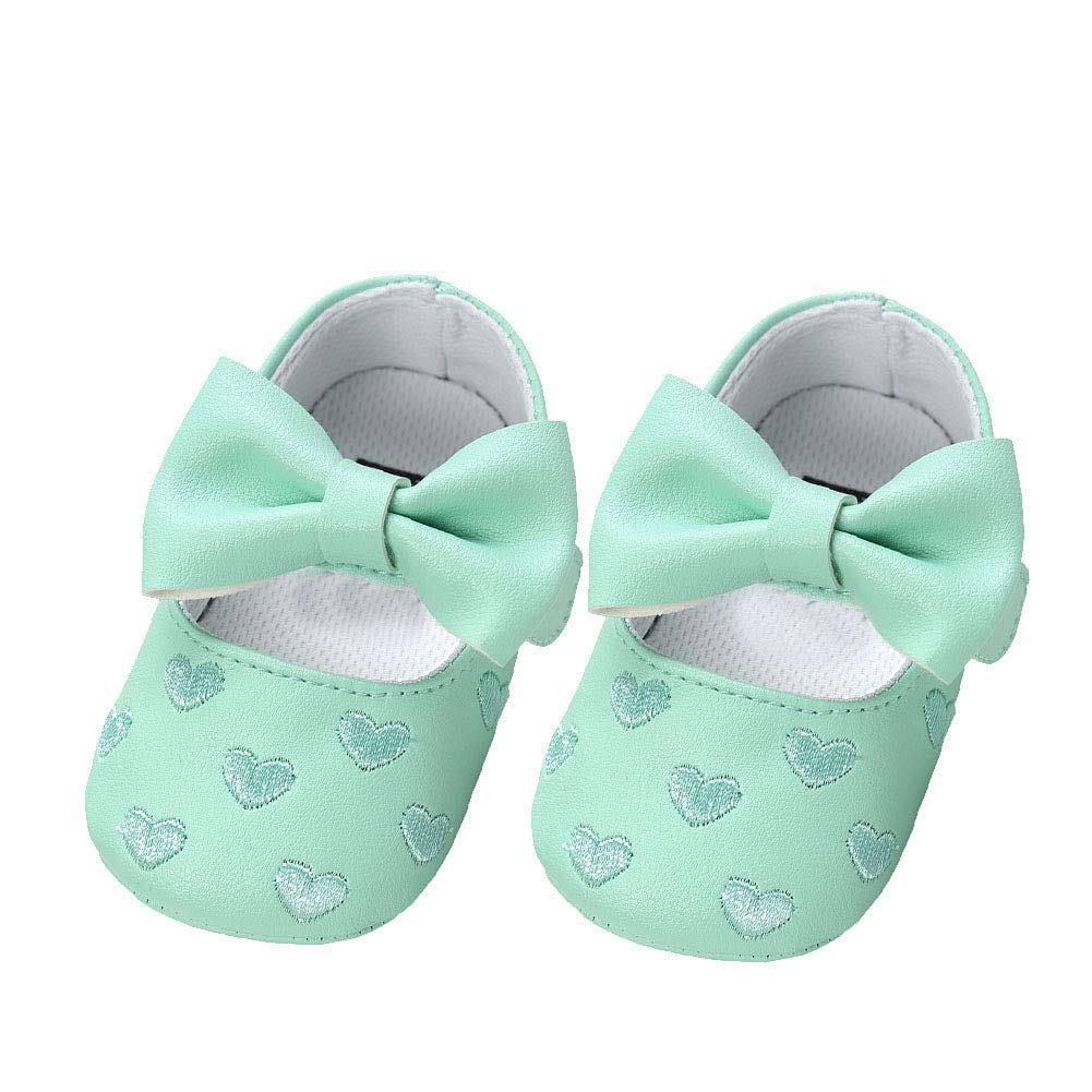Alamana Bowknot Heart Infant Baby Girls Soft Sole Anti-Slip Prewalker Toddler Shoes Green 11cm