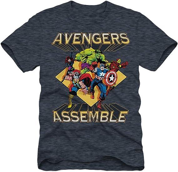 Marvel - Camiseta clásica para Hombre, diseño de Spiderman, Ironman, Capitán América y Hulk: Amazon.es: Ropa y accesorios