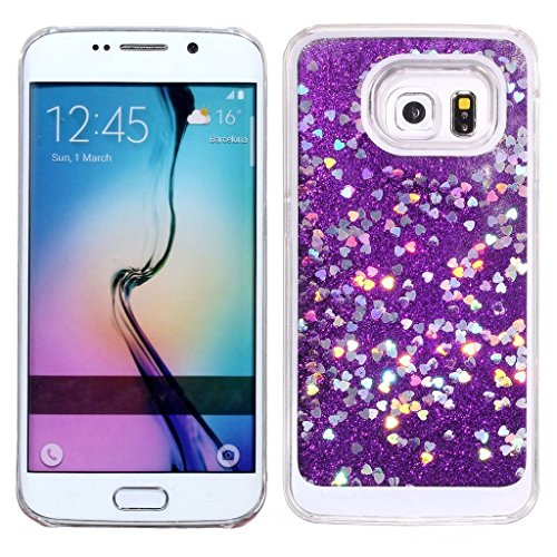watch 5f4bc 0b52b Galaxy S6 Case,Samsung Galaxy S6 Glitter Case,UZZO 3D Funny Liquid Infused  with Bling Glitter and Love Hearts Stars Floating Flowing Clear Plastic ...