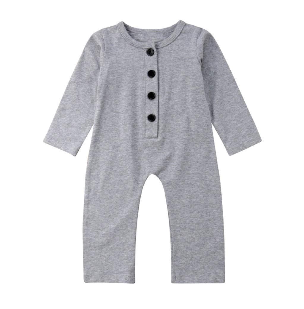 Luonita Newborn Infant Baby Boys Girls Solid Fold Button Homewear Casual Soft Basic Romper Jumpsuit Bodysuit for 0-24M