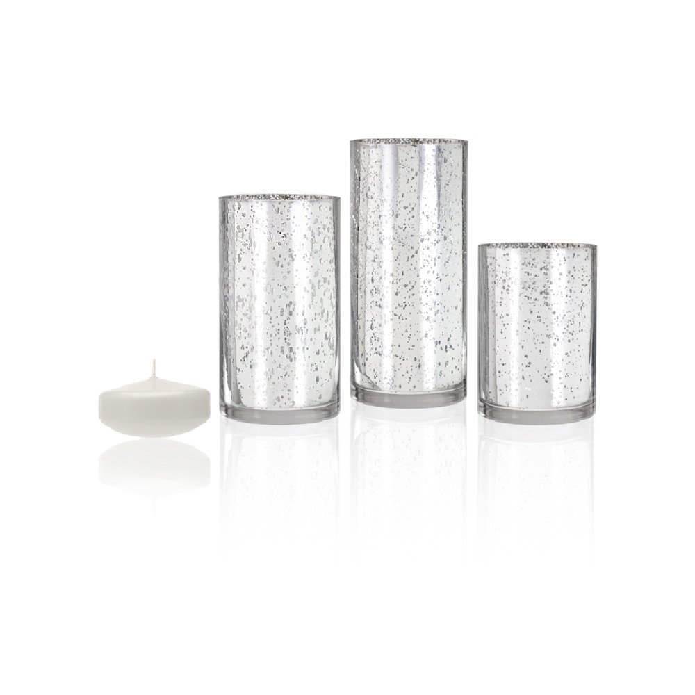 Yummi Set of 9 Floating Candles and Silver Metallic Cylinder Vases - White by Yummi