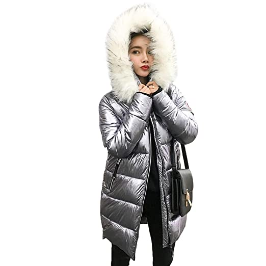 Welcome the good future Fur Collar Silver Womens Down Jacket Womens mid-Length Silver Down