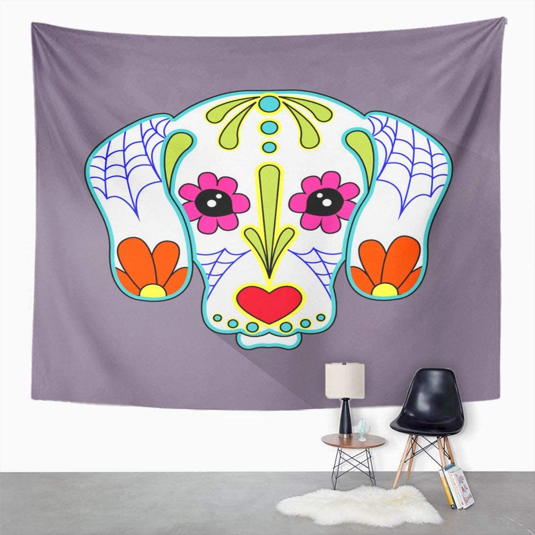 Suklly Tapestry Wall Hanging Skull Mexican Folk Dog Heads Sugar Animal Breed Bull Cats Celebration Culture Home Decor Polyester Living Bedroom Dorm 60 X 80 Inches Picnic Mat Beach Towel Bed Cover
