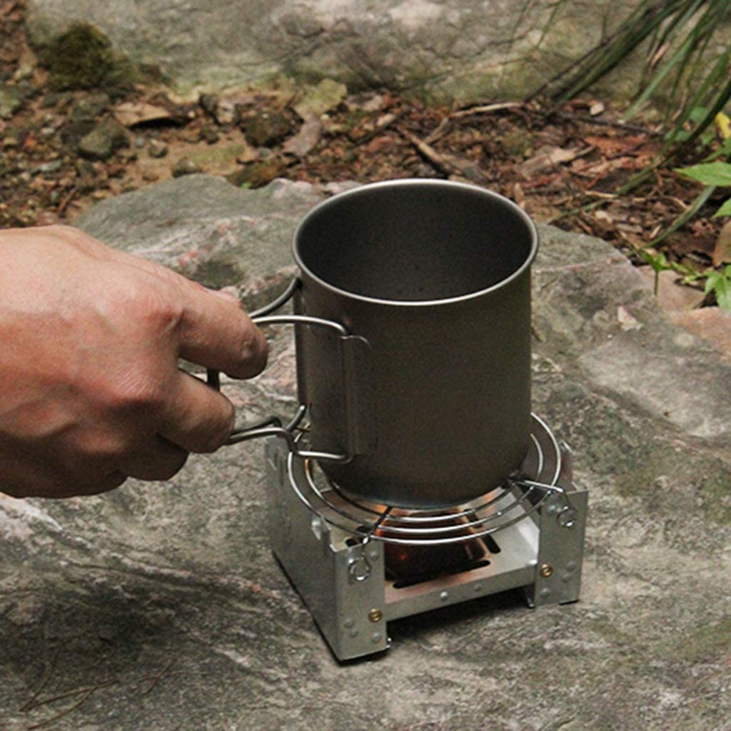 Toygogo 2x Stainless Steel Camping Cooking Spirit Alcohol Stove Burner W//Stand Rack