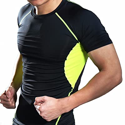 Fittoo Tank Tops for Men Cool Dry Compression Shirt Baselayer Athletic Vest Sport Tank Top Black&Green(M)