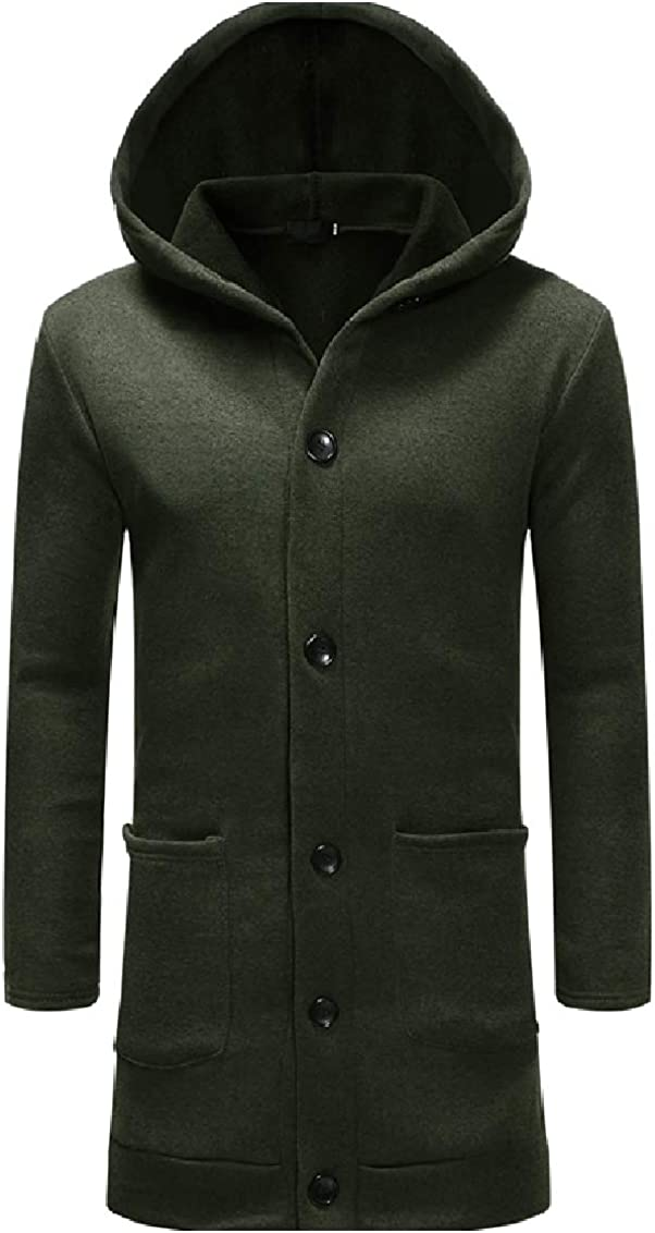 FreelyMen Hood Fall Winter Thick Single-Breasted Overcoat Jackets
