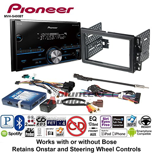 (Volunteer Audio Pioneer MVH-S400BT Double Din Radio Install Kit with Bluetooth USB/AUX Fits 2007-2013 Chevrolet Silverado, Avalanche, 2008-2013 Express)
