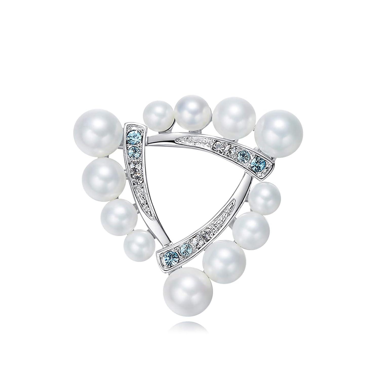 Aooaz Bijoux Broche pour Les Femmes Triangle CZ Pearl Broches Silver Parures pour Femme AOOAZGJSJKDCDEPTZXZ179KU