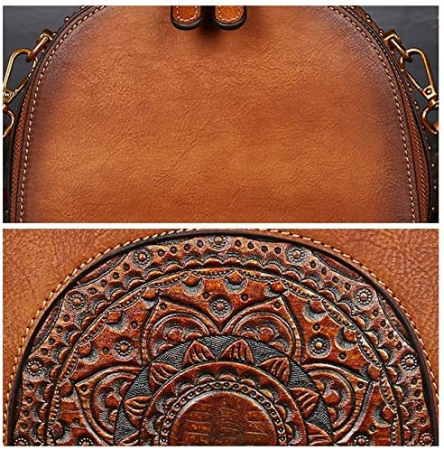 Color : Color Brown, Size : OneSize JXHJQY Women Genuine Leather Vintage Handbag Double Layer Brush Color Crossbody Bag