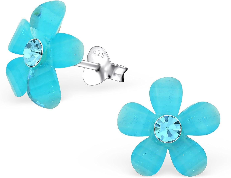Laimons Pendientes para mujer Flor floreciente Azul Claro Brillante Plata de ley 925