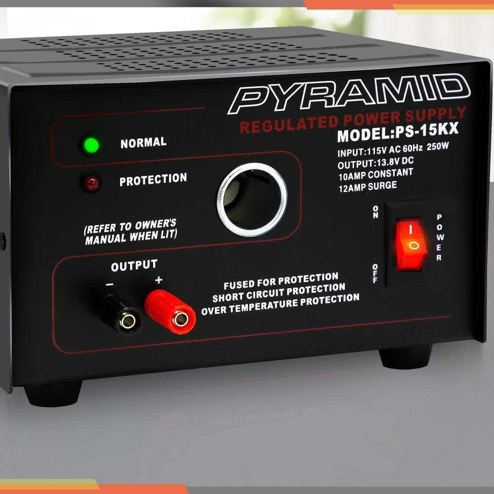 Pyramid Universal Compact Bench Power Supply - 10 Amp Linear Regulated Home Lab Benchtop AC-to-DC Converter w/ 13.8 Volt DC 115V AC 250W Input, Screw Type Terminal, 12V Car Cigarette Lighter by Pyramid (Image #2)