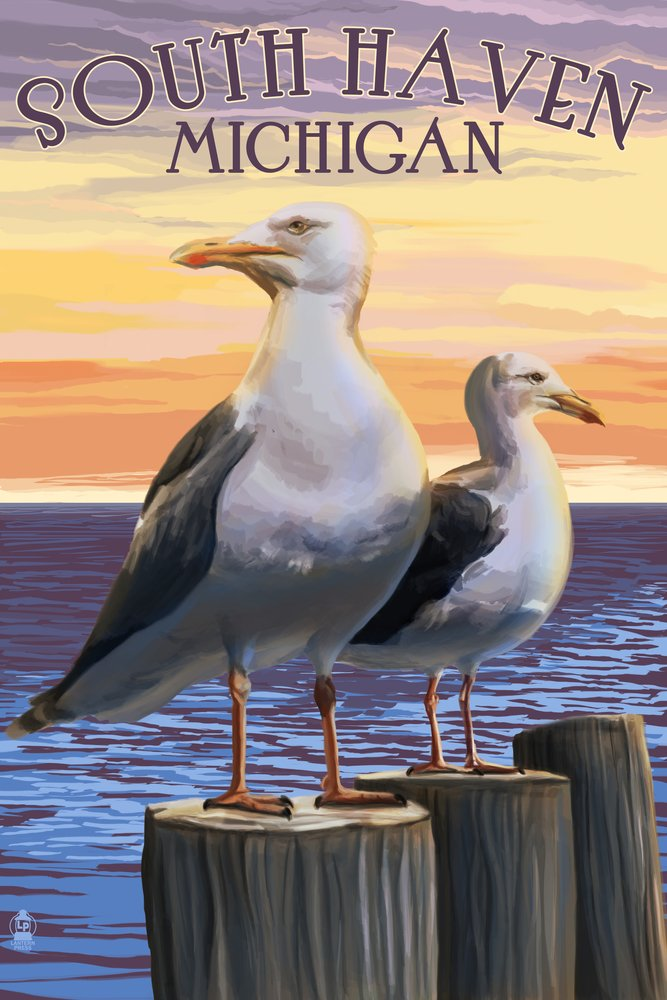South Haven、ミシガン州 – Seagulls 36 x 54 Giclee Print LANT-49350-36x54 36 x 54 Giclee Print  B017EA0ITQ