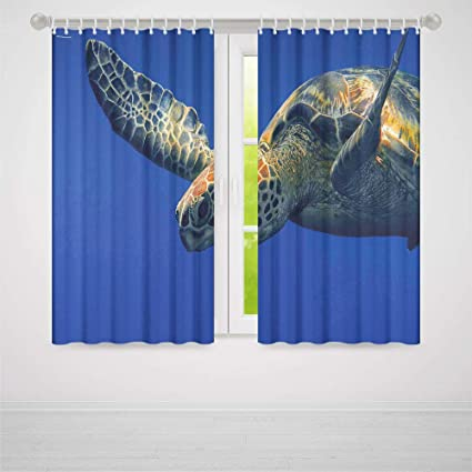 5df4969a Turtle Window Curtains Blackout,Close Up Photo of Green Turtle at Sipadan  Borneo Malaysia Cute