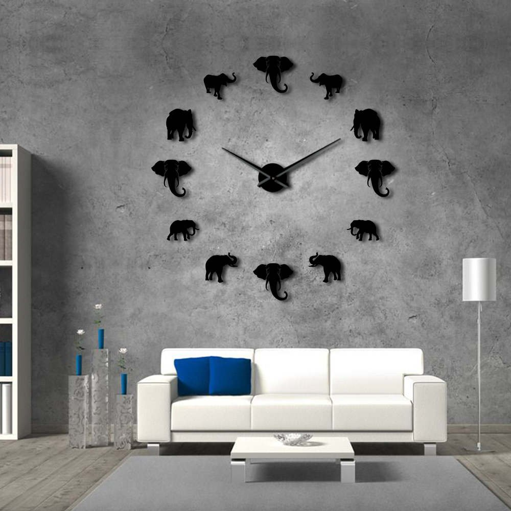The Geeky Days Jungle Animals Elephant DIY Large Wall Clock Home Decor Modern Design Mirror Effect Giant Frameless Elephants DIY Clock Wall Watch (Black)