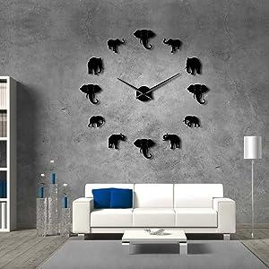 The Geeky Days Jungle Animals Elephant DIY Large Wall Clock Home Decor Modern Design Mirror Effect Giant Frameless Elephants DIY Clock Wall Watch (Black)