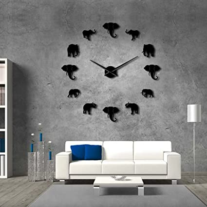 The Geeky Days Jungle Animals Elephant DIY Large Wall Clock Home Decor Modern Design Mirror Effect