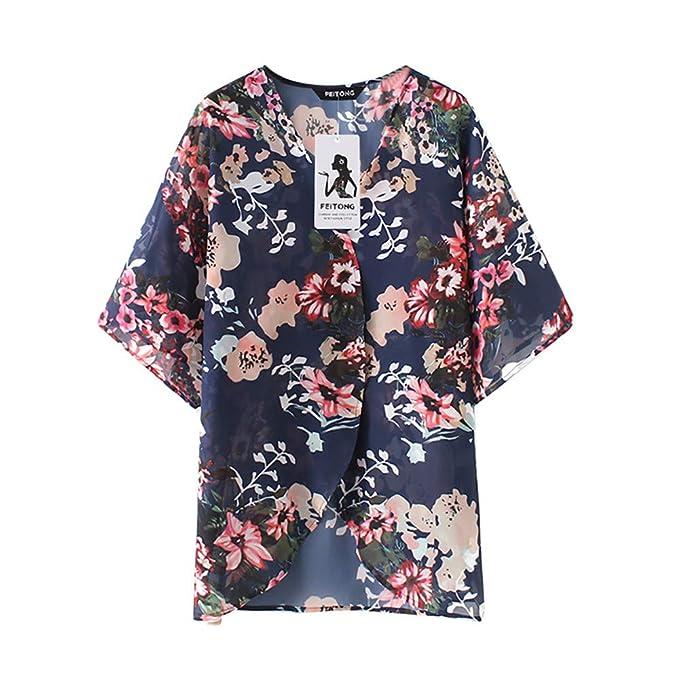 ... Camiseta bluson Chica Otoño Invierno Feitong Mujeres Gasa Floral Kimono Suelta Media Manga Chal de impresión Cardigan: Amazon.es: Ropa y accesorios