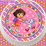 PRECUT EDIBLE ICING CAKE TOPPER - 7.5 INCH ROUND DORA THE EXPLORER PINK AND COLOURFUL BORDER
