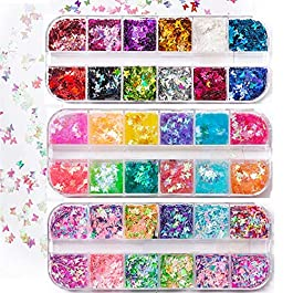 36 Box/Set 3D Holographic Butterfly Nail Glitter Sequins, Cosmetic Iridescent Flake Nail Decals DIY Design for Face Body Make Up Nail Art Decoration (Butterfly)