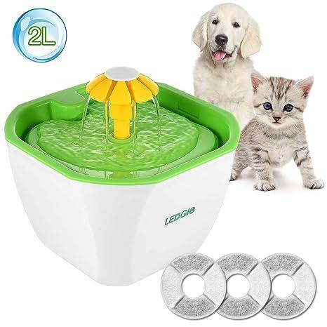 LEDGLE Fuente de Agua Gatos Silencio Flor Fuente de Agua 2L Eléctrico Automático para Mascotas Filtro