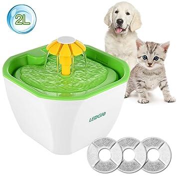 LEDGLE Fuente de Agua Gatos Silencio Flor Fuente de Agua 2L Eléctrico Automático para Mascotas Filtro con 3 Unidades de Filtro de Carbono: Amazon.es: ...