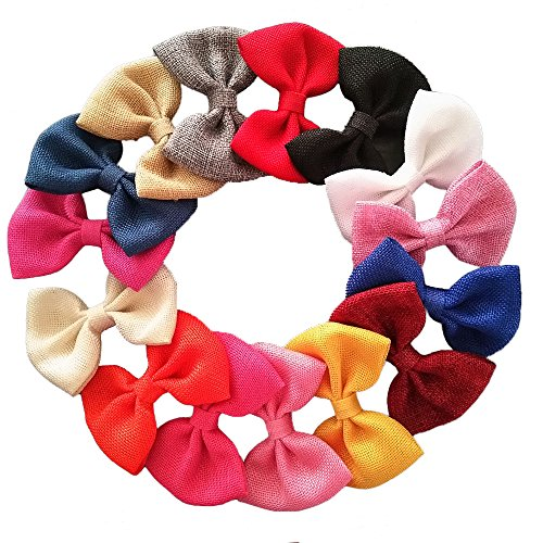 Yazon 4 inch Burlap Fabric Bows Hair Clips Baby Hair Bows Girl's Hair Clips Pack Of 16 ()