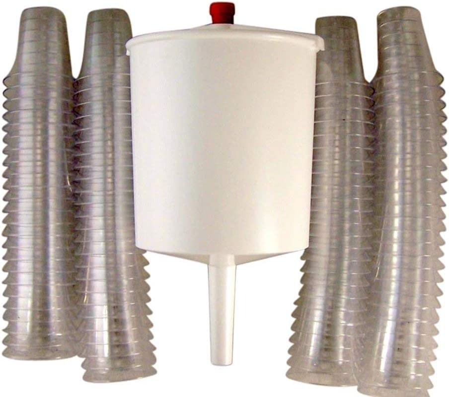 Pack of 100 Disposable Communion Cups with Push Button Filler Bundle By Trinity Church Supply
