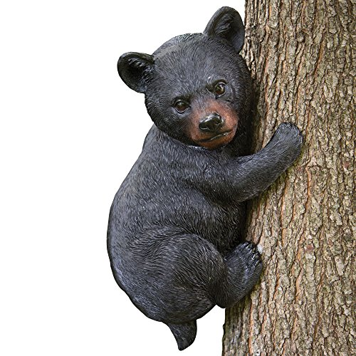 Bits and Pieces – Baby Bear Up a Tree Garden Peeker – Tree Hugger – Outdoor Tree Sculpture – Gifts and Garden Décor Tree Hugger Faces for Trees – Bear Cub Resin Sculpture, 13-3/4″ Long x 8″ Wide