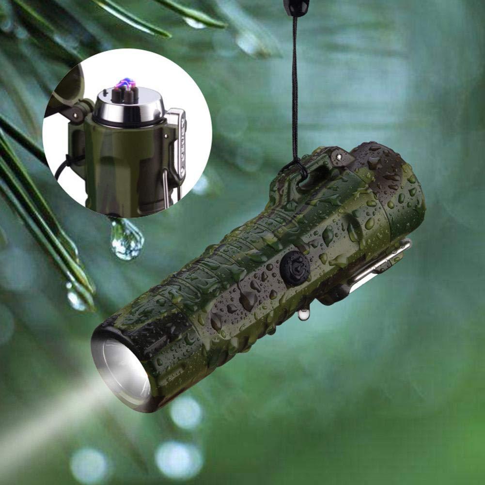 heresell Linterna portátil Encendedor de Cigarrillos al Aire Libre Multifuncional Carga USB Encendedor de Cigarrillos con luz de Emergencia a Prueba de Agua