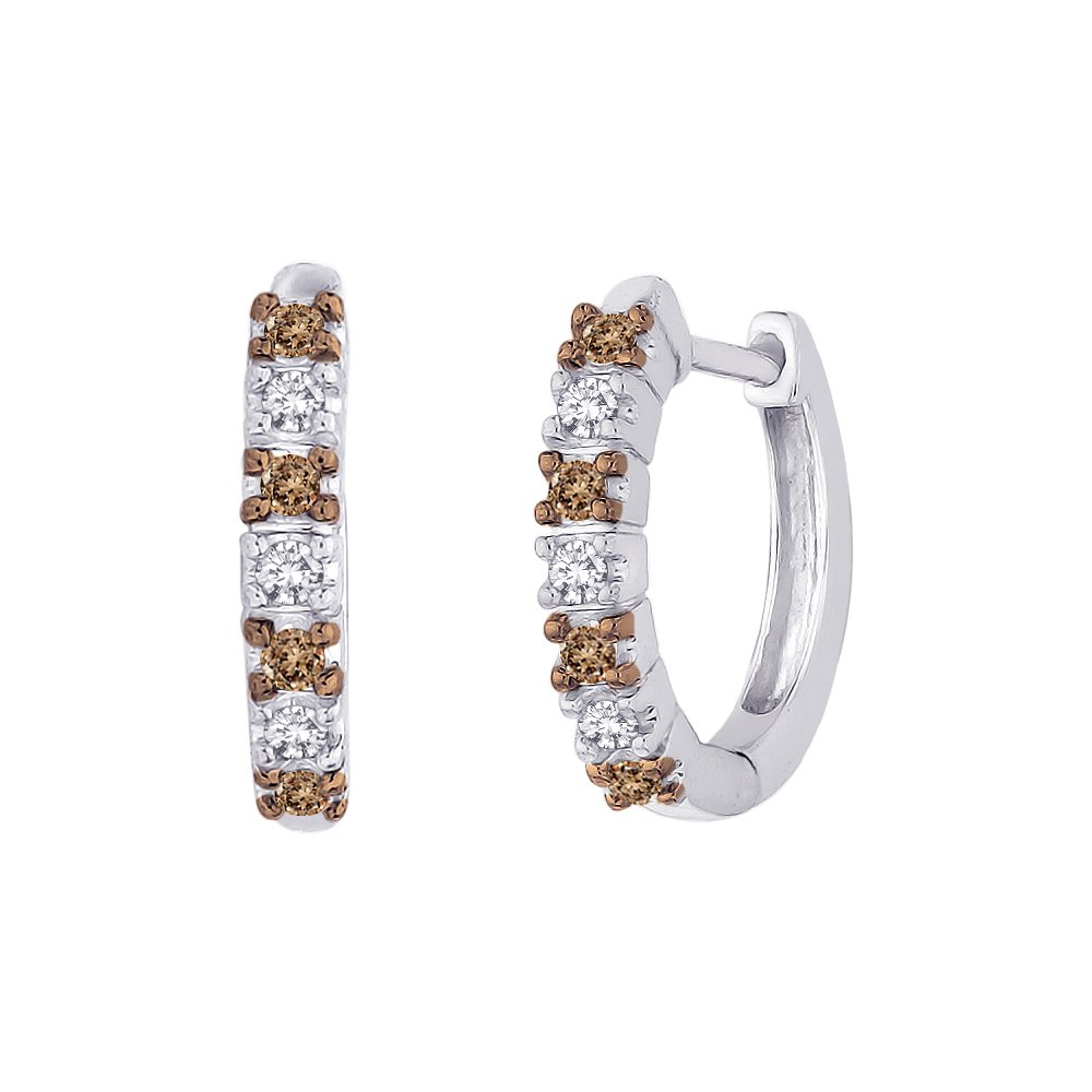 Alternating Brown and White Diamond Huggie Earrings in Sterling Silver (1/4 cttw)