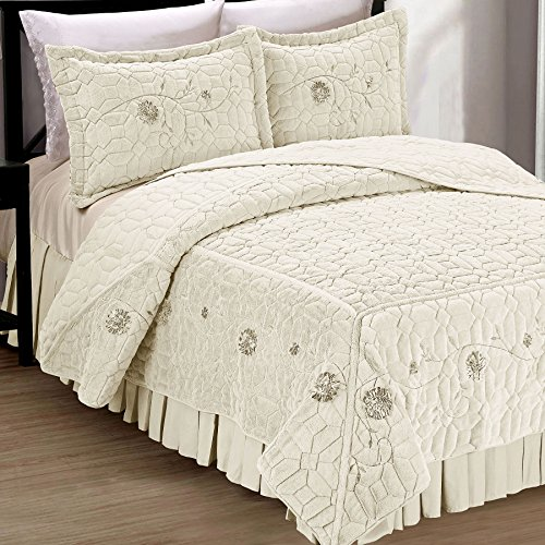 Serenta Faux Fur Ribbon Embroidered 3 Piece Microfiber Bedspread/Quilt Set, King, Ivory - Micro Check Ribbon