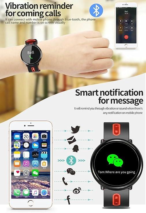 OOLIFENG Reloj inteligente Rastreador de ejercicios Monitor de ritmo cardíaco y sueño Resistente al agua IP67 Banda de podómetro Recordatorio de llamada ...