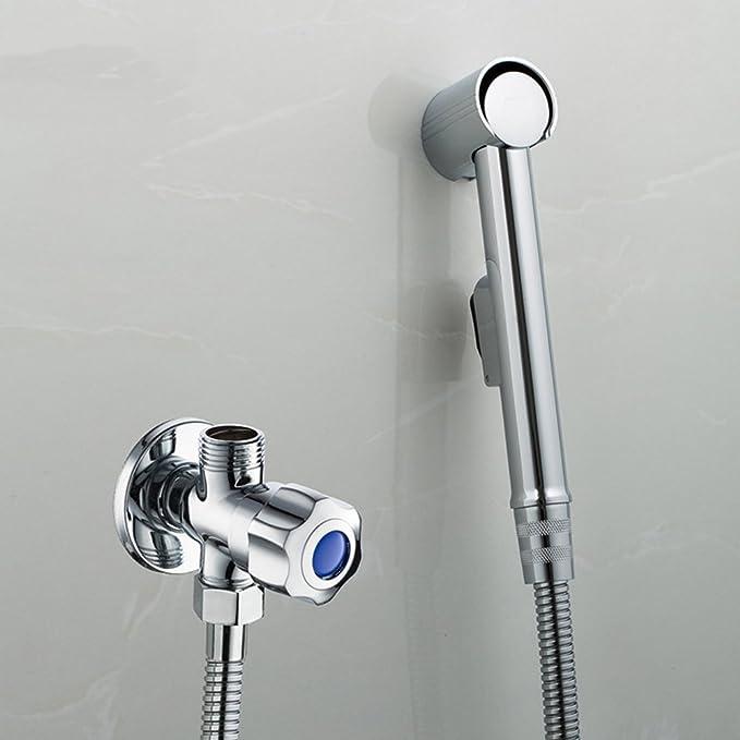 Hifina kit hygiène wc / douchette à main / Bidet Shataff pour WC, Toilette Avec tuyau extra long de 47 pouces et support de support / Support de douchette / vanne d'arrêt pour pommeau de douche (Conception