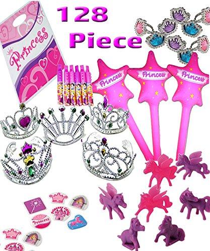 Princess Party Favor Pack for 16 Guest -128 Pieces= 16 Tiaras, 16 Inflatable Wands, 16 Princess Rings, 16 Princess Ponies, 16 Disney Mini Recorders, 32 Princess PuffyStickers & 16 Princess Loot Bags
