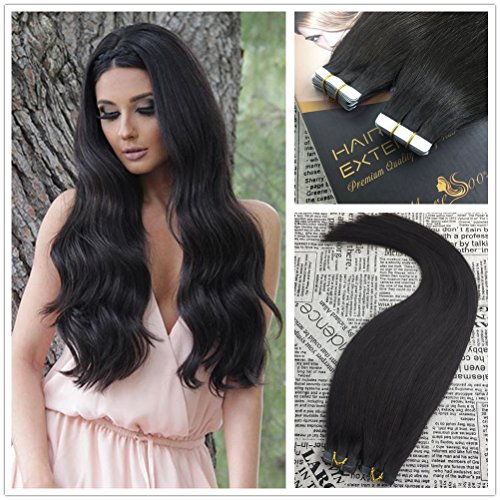 Tape in hair extensions moresoo 20 inch 100g40pcs off black color 1b 100 straight unprocessed remy virgin pmusecretfo Images