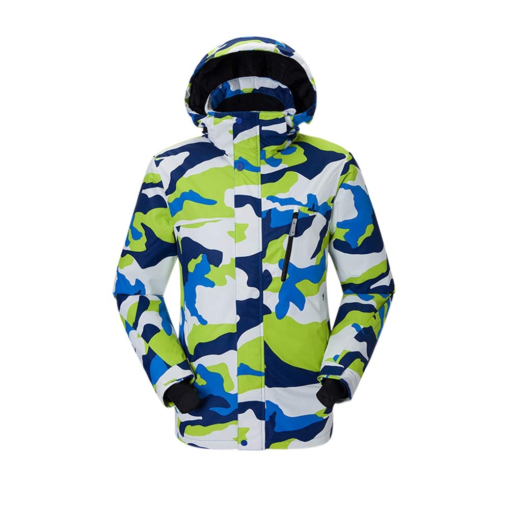 Camo Blanc Tag M = EU US UK AUS MEX S Deylaying Veste de Ski Homme - Manteau Hiver Chaud avec Capuche, Coupe-Vent Imperméable Combinaison de Snowboard